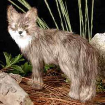FOX GRAY FUR FIGURINE