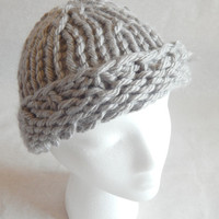 Grey chunky winter hat, slouchy or skull cap