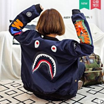 BAPE SHARK Fashion Casual Women Men Personality SHARK Print long Sleeve Jacket Coat G