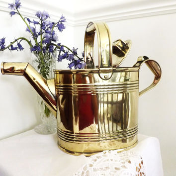 Edwardian Brass Watering Can, Water Jug, Antique Brass Vase, Rustic Pitcher, Art Nouveau Interior, Made In England, Cabin, Rustic  Decor