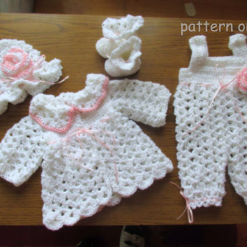 Baby Cardigan , Hat , Booties and Overall PATTERN  in 5 size , 4  patterns in 1 , baby set crochet pattern