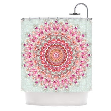 "Iris Lehnhardt ""Summer Lace III"" Circle Pink Green Shower Curtain"