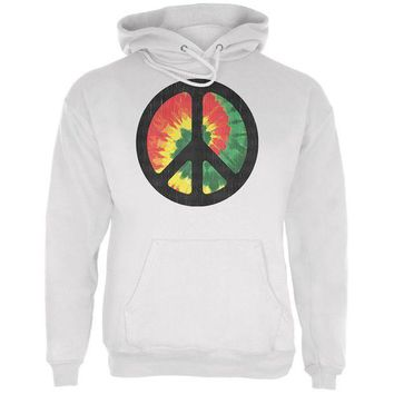 PEAPGQ9 Rasta Tie Dye Peace Sign Distressed Halftone Mens Hoodie