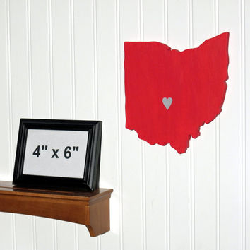 Ohio State Buckeyes State Heart wall art by StateYourTeam on Etsy