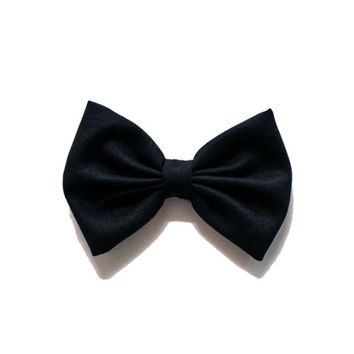 Solid Black Cotton Hair Bow Fancy Slick Suit and Tie