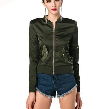 Fashion slim O neck long sleeve Zipper short coat
