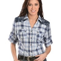 Red Ranch Blue Lace Yoke Plaid Western Shirt - Sheplers