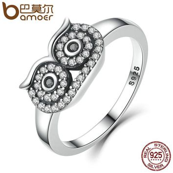 BAMOER Genuine 100% 925 Sterling Silver Clear CZ Cute Owl Stackable Finger Ring for Woman Wedding Engagement Jewelry