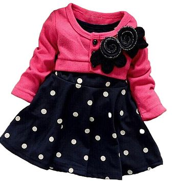 BibiCola baby girls dresses brand kids girls spring autumn party dress toddler girls polka dot dress girls wedding dress costume