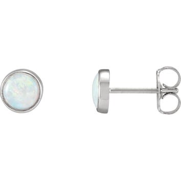 14K Gold Opal Gemstone Post Earrings