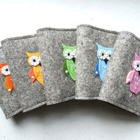 Mini Notebook, Small Document Portfolio with owl (whit owl booklet)