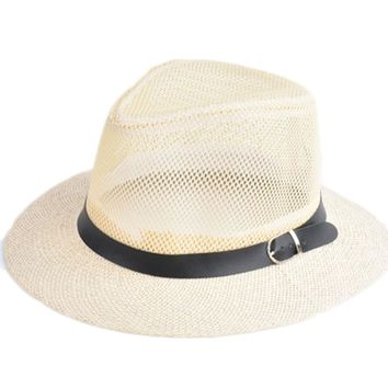 2018 Summer Straw Bucket Hat For Male Jazz Visor Cap For Gentleman Dad Hat Plus Size Mesh Flat Homburg Beach Hat Gorras