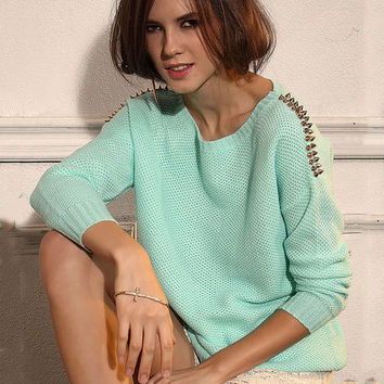 Mint Green Shoulder Rivets Long Sleeve Knit Sweater