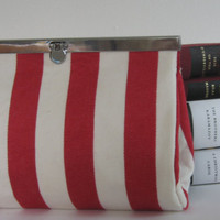 Nautical Red and White Striped Clutch