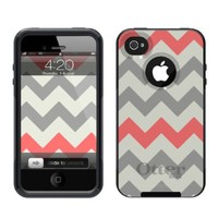 iPhone 4 /4S Case [Black] Chevron Grey Sunset Red [Dual Layer] UnnitoTM *1 Year Warranty* Case Protective [Custom] Commuter Protection Cover [Hybrid]