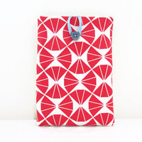 Red geometric print Ipad mini case , tablet sleeve with hand printed red triangle pattern , uk seller
