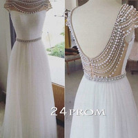 White A-line Round Neck Tulle Long Prom Dresses, Formal Dresses