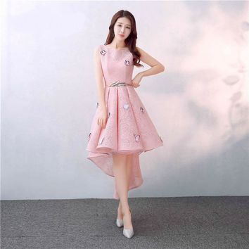 High-low Lace Draped Boat Neck Flower Zipper Formal Dress Party Full Dress Gown