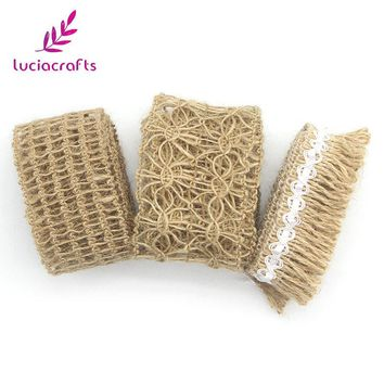 Lucia crafts 1m/lot Tape Roll Burlap Jute Ribbon With Lace Trims Sewing DIY Wedding/Party/Cake Decoration Supplies 047005047