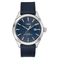 Men's Timex Watch with Leather Strap - Silver/Blue