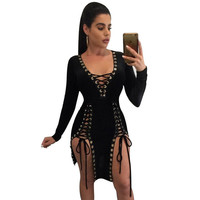 S - XXXL Plus Size Women Party Dresses 2017 Autumn V Neck Long Sleeve Lace Up Mini Dress Sexy Split Night Club Bandage Dress