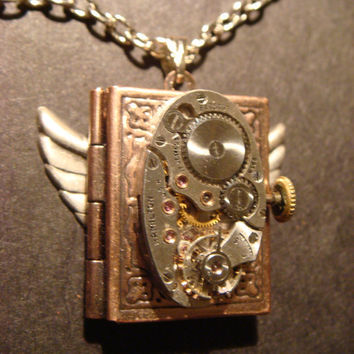 Steampunk Neo Victorian Watch Movement LOCKET Necklace with Wings (523)
