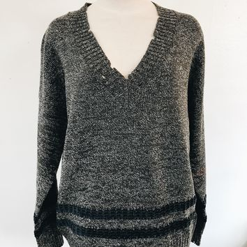 TAYLOR V NECK SWEATER- CHARCOAL