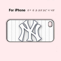 White Cool Custom Baseball Team New Yankees Phone Case For iPhone 6 Plus For iPhone 6 For iPhone 5/5S For iPhone 4/4S For iPhone 5C-5 Colors Available
