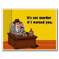 it's not murder postcard