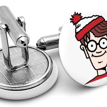 Where's Waldo Wally Face Cufflinks