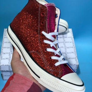 kuyou Vince Staples X Chuck 1970 Converse All Star Skate Shoes Blue Red