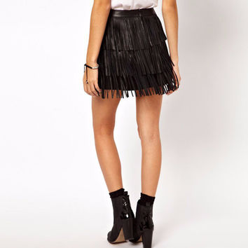 2017 Hot Summer Style Fashion Women Fringe Tassel Faux Leather High Waist A-Line Mini Skirt Plus Siz