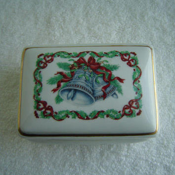 Vintage Porcelain Melodies of Christmas Silver Bells Music Box