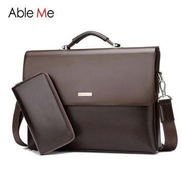 AbleMe Business Handbag Mens Fashion Leather Tote Bag Male Sacoche Homme Document Laptop Shoulder Men Messenger Bags