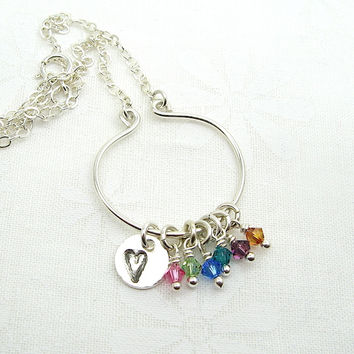 Lyre Birthstone Necklace with Heart Charm, Large