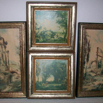 Set of 4 Framed Vintage Pastoral Paintings of the Italian Countryside by GC Chiabert