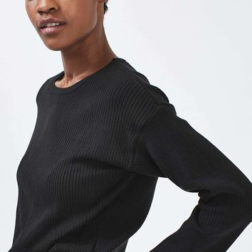 Wide Sleeve Rib Crop Top | Topshop