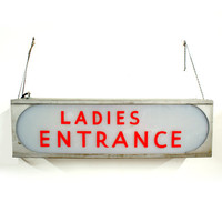 Deco Double Sided Hanging Ladies Entrance Sign Light Up Industrial