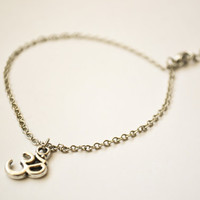 Om anklet, delicate silver tone ankle bracelet with Om charm, gift for her, minimalist jewelry, zen, yoga jewelry, buddhism