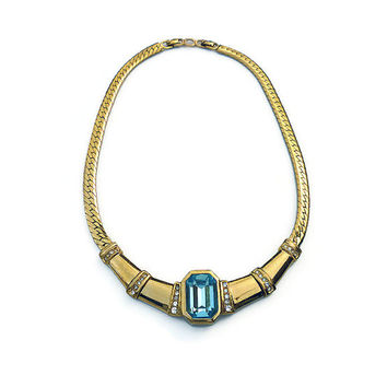 Christian Dior, Choker Necklace, Gold Plated, Diamante Rhinestone, Aquamarine Glass, Vintage Jewelry, Designer Jewellery, Couture Runway