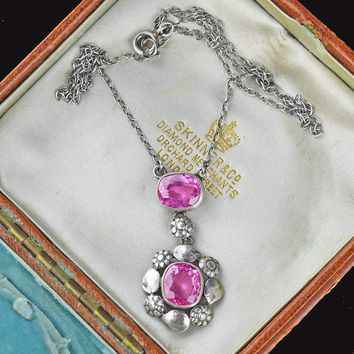 Vintage Pink Sapphire Necklace 1900s