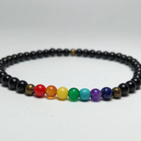 Mens Bracelet Men Bracelete Bracelet Perle Homme Beaded Men Bracelet Mens Beaded Bracelet Men's Bracelets 7 CHAKRA BRACELET Yoga Chakra 4 mm