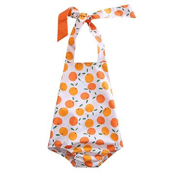 Cute Newborn Toddler Baby Boys Girls Orange Romper Summer Style Girl Rompers Jumpsuit Outfits Unisex Clothes