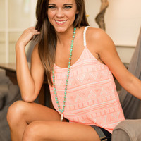 Aztec Of Tomorrow Tank, Neon Coral