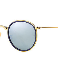 Ray-Ban RB3517 001/30 51-22 ROUND FOLDING Gold sunglasses | Official Online Store US