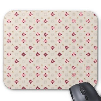 Retro Red Flower Gold Star Vintage Wallpaper Mouse Pad