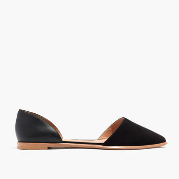 The Arielle d'Orsay Flat in Leather and Suede