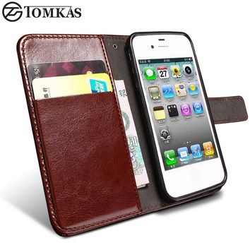 TOMKA Wallet Flip Case For iPhone 4 4S Luxury Broncos PU Leather Cover With Card Holders Stand Case For iPhone 4S Phone BagBack