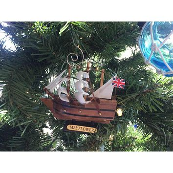 Wooden Mayflower Tall Model Ship Christmas Ornament 4""