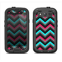 The Sharp Pink & Teal Chevron Pattern Samsung Galaxy S3 LifeProof Fre Case Skin Set